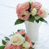 Loose Pink and White Roses