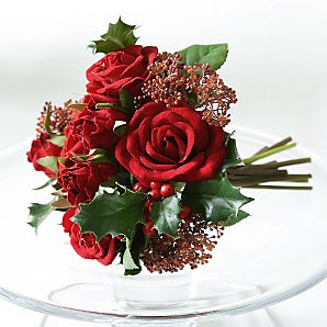 Red roses & holly bouquet